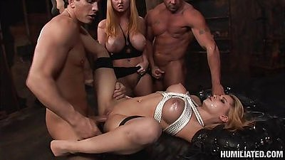 Cum covered face and tits tied up forced to fuck