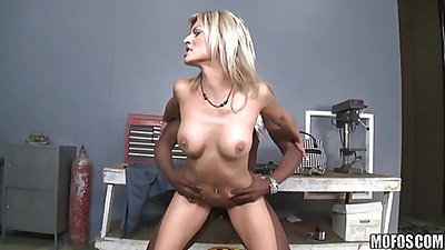 Blonde slut gets doggy fucked by a giant black dick