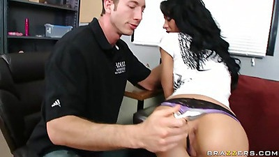 Dude takes off Mya Nicole jeans and rubs her buns