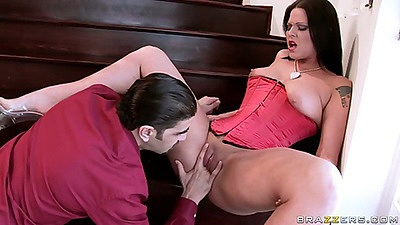 Spreading oil and ass fingering Simony