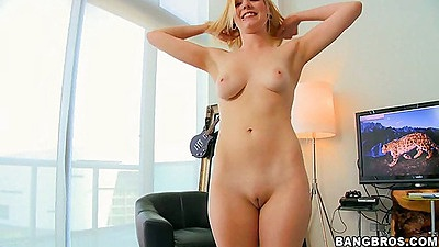 Rylie gets naked and strokes dues cock