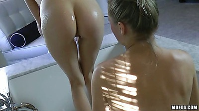 Fingering freshly shaved pussy and massage