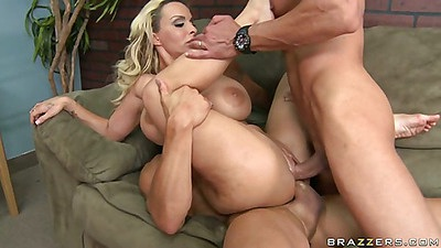 Big tits milf Holly gets double penetration with anal