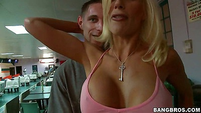 Hot big tits bra less puma swede goes bowling