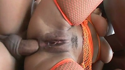 Sideways anal close up in group gang bang on Nikara