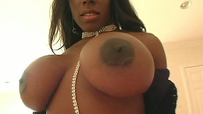 Big tits ebony super babe Kelly Starr gets ass oiled and blows dick