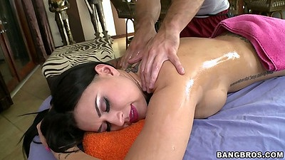 Private massage time with Eva Angelina getting oiled up
