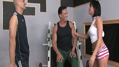Tory Lane at the gym with two pumped up guys asking for trouble