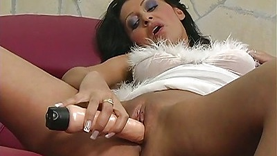 Milf Petra fucking her own shaved pussy and joining a threesome