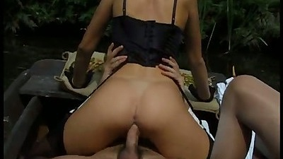 First sex video with boat group sex action on a lake