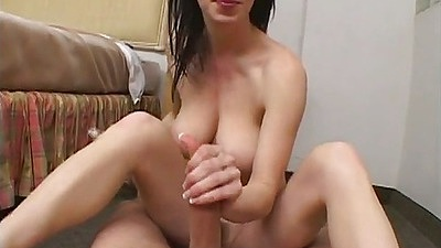 Big tits milf RayVeness strokes penis and puts it into her hair pussy