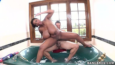 Big tits ebony Maserati  reverse cowgirl in the bath with ass spreading
