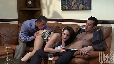 Threesome sex with Mackenzee Pierce with cowgirl and blowjobs