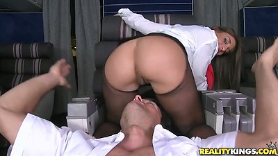 Nice big round ass Mischa Brooks in stocking licked and half dressed cowgirl sex