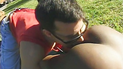 Ass licking black ass Jordan Rains outdoors and blowjob