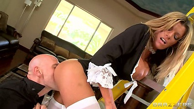 Big tits uniformed milf maid Kristal Summers gets ass licked with rear entry fuck