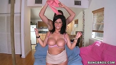 Big tits Lachasse flips down her bra nd rolls up her skirt with reverse cowgirl sex