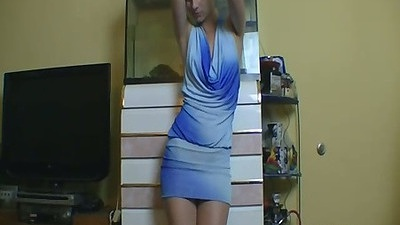 Amateur gf KandiiKiss wearing a cute blue dress