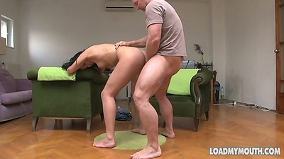 Denise gets bent over standing up to receive penis doggy style