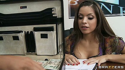 Latina Yurizan Beltran in the office making out with guy showing her tits to him