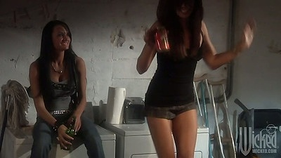 Alektra Blue and Kirsten Price at the party playing spin the bottle