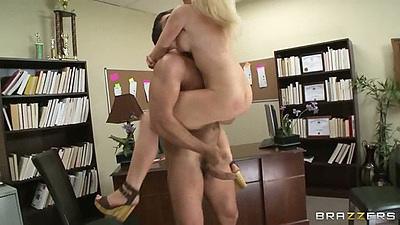 Office in the air fuck with blonde Dylan Riley