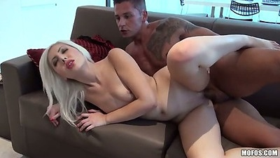Sideways blonde natural tits sex with Blond Angel