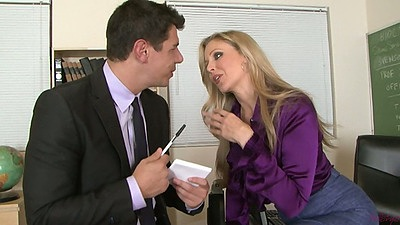 Classroom milf action with Julia Ann undressing for dude
