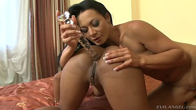 Katia de Lys and Sandra Romain enjoy a great lesbian ebony dildo sex