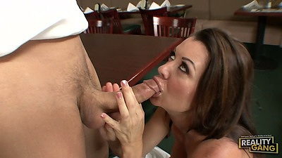 Raquel DeVine blowjob behind the desk and milf sex