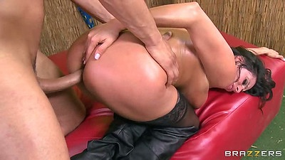 Oil doggy style milf entry with Ariella Ferrera in her stockings