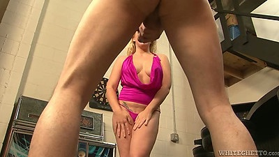 Jerking off guy gets Heidi Mayne to bite his cock and deep throat that dick in her throat